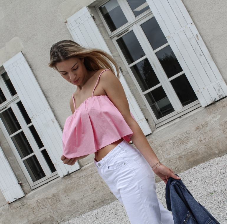 jean blanc zara et top rose