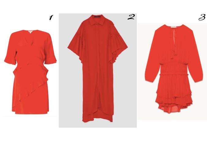 robe rouge volants